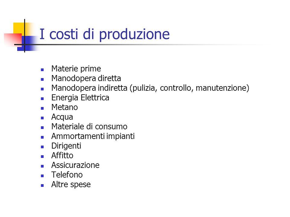 I costi di produzione Materie prime Manodopera diretta