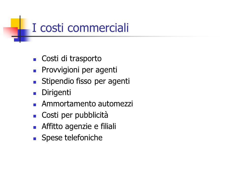 I costi commerciali Costi di trasporto Provvigioni per agenti