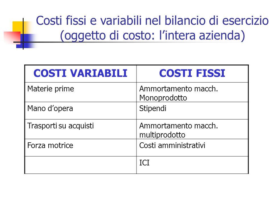 Costi fissi e variabili nel bilancio di esercizio (oggetto di costo: l'intera azienda)