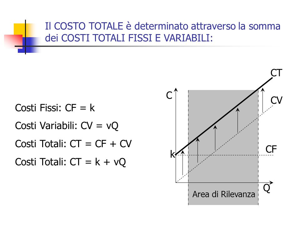Costi Variabili: CV = vQ Costi Totali: CT = CF + CV