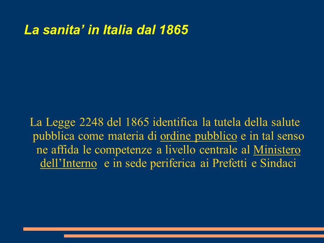 La sanita' in Italia dal 1865