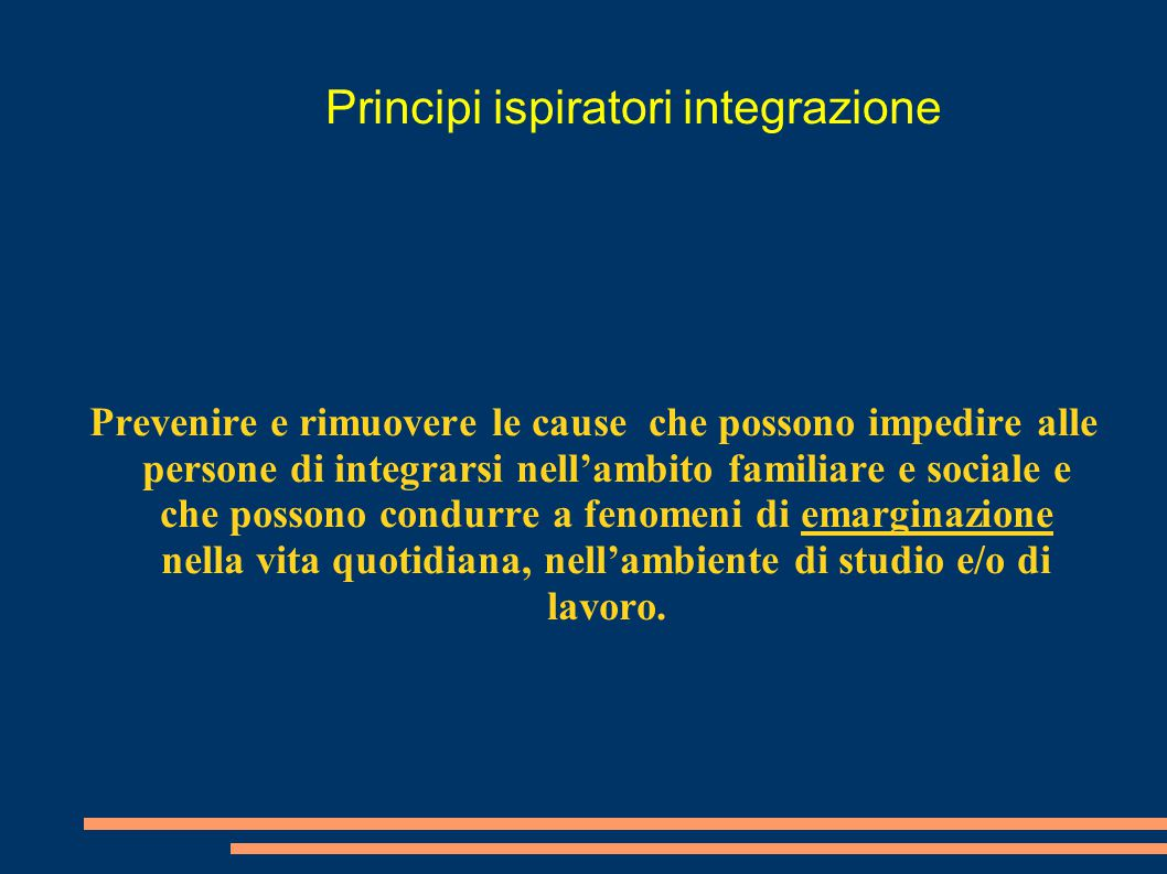 Principi ispiratori integrazione