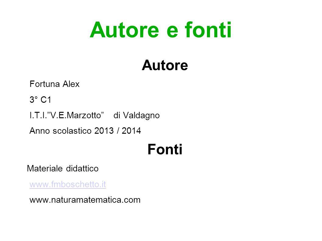 Autore e fonti Autore Fortuna Alex 3° C1