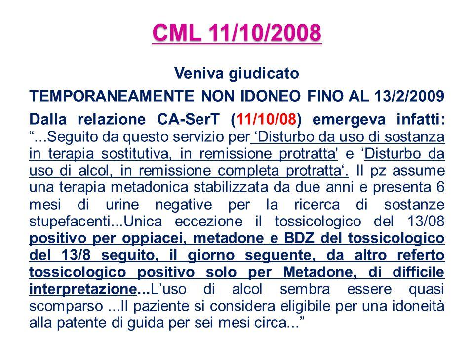 TEMPORANEAMENTE NON IDONEO FINO AL 13/2/2009