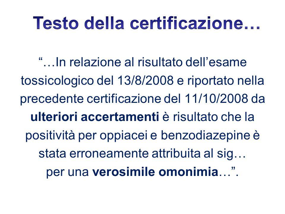 Testo della certificazione…