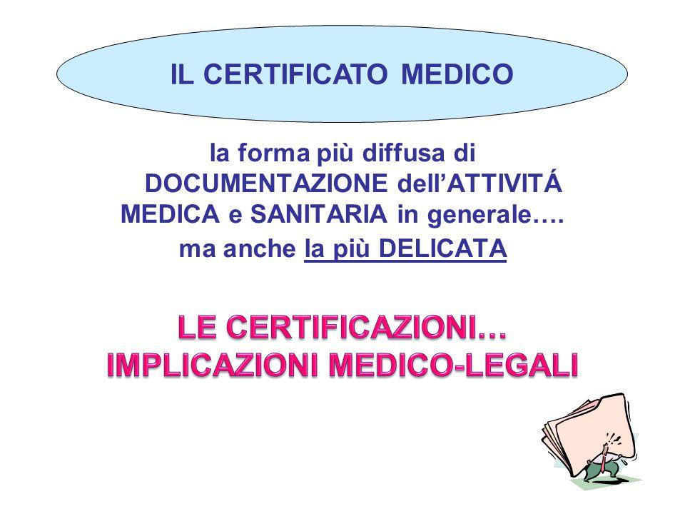 LE CERTIFICAZIONI… IMPLICAZIONI MEDICO-LEGALI
