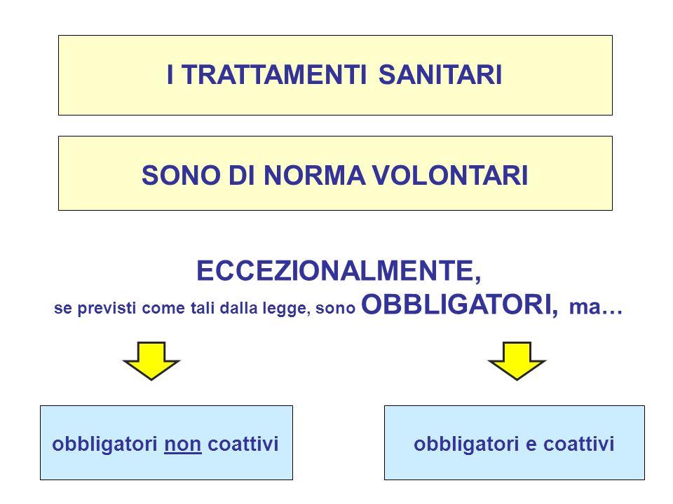 ECCEZIONALMENTE, I TRATTAMENTI SANITARI SONO DI NORMA VOLONTARI