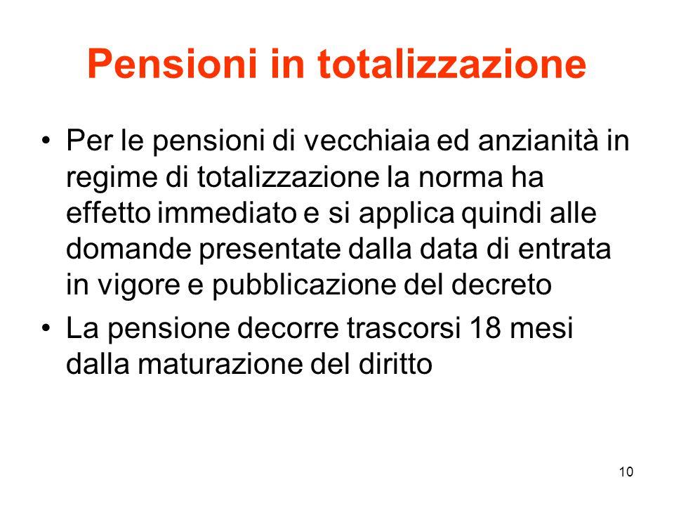 Pensioni in totalizzazione