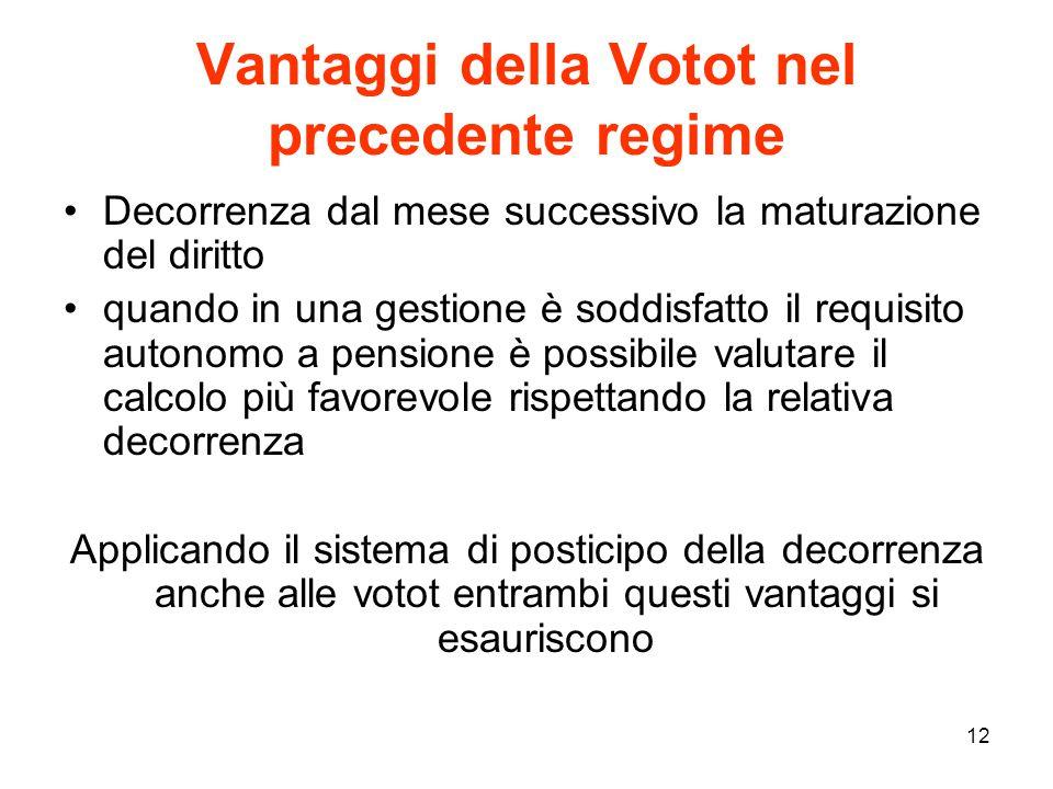 Vantaggi della Votot nel precedente regime