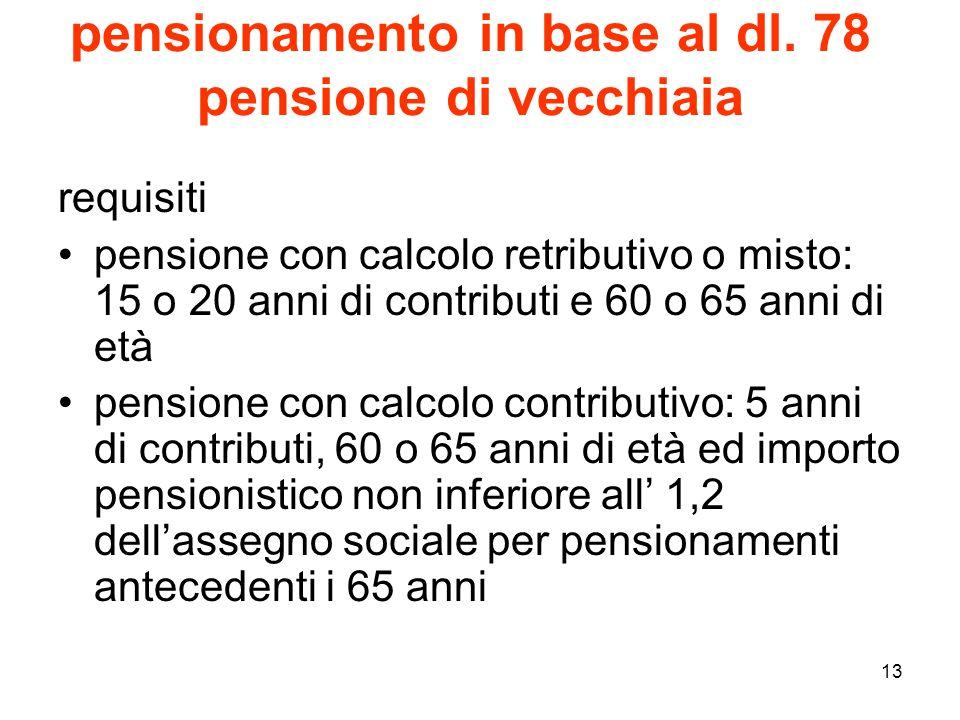 pensionamento in base al dl. 78 pensione di vecchiaia