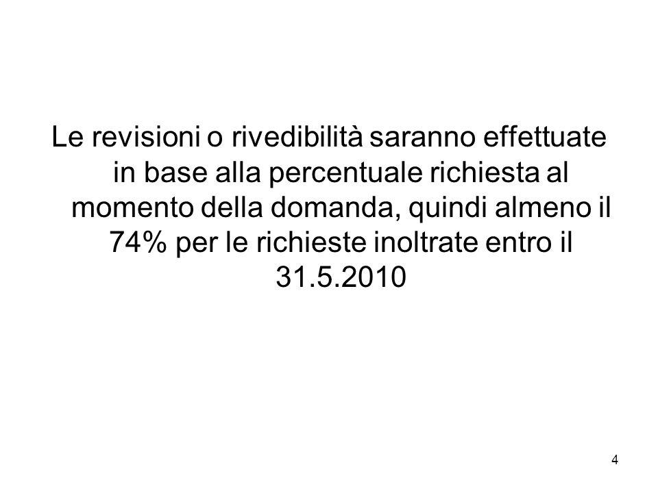 Le revisioni o rivedibilità saranno effettuate in base alla percentuale richiesta al momento della domanda, quindi almeno il 74% per le richieste inoltrate entro il 31.5.2010
