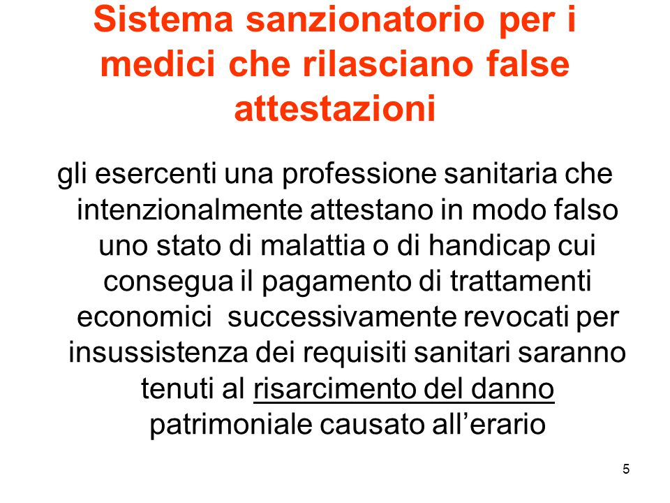 Sistema sanzionatorio per i medici che rilasciano false attestazioni
