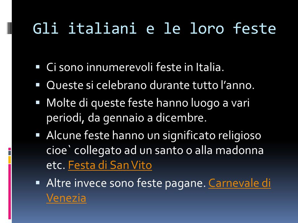 Gli italiani e le loro feste