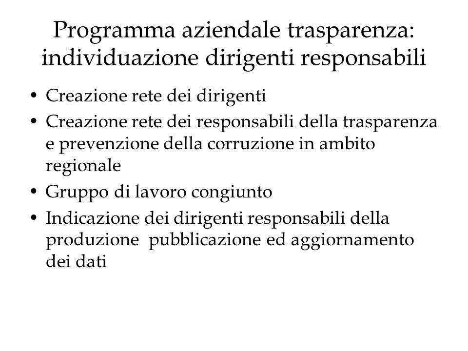 Programma aziendale trasparenza: individuazione dirigenti responsabili