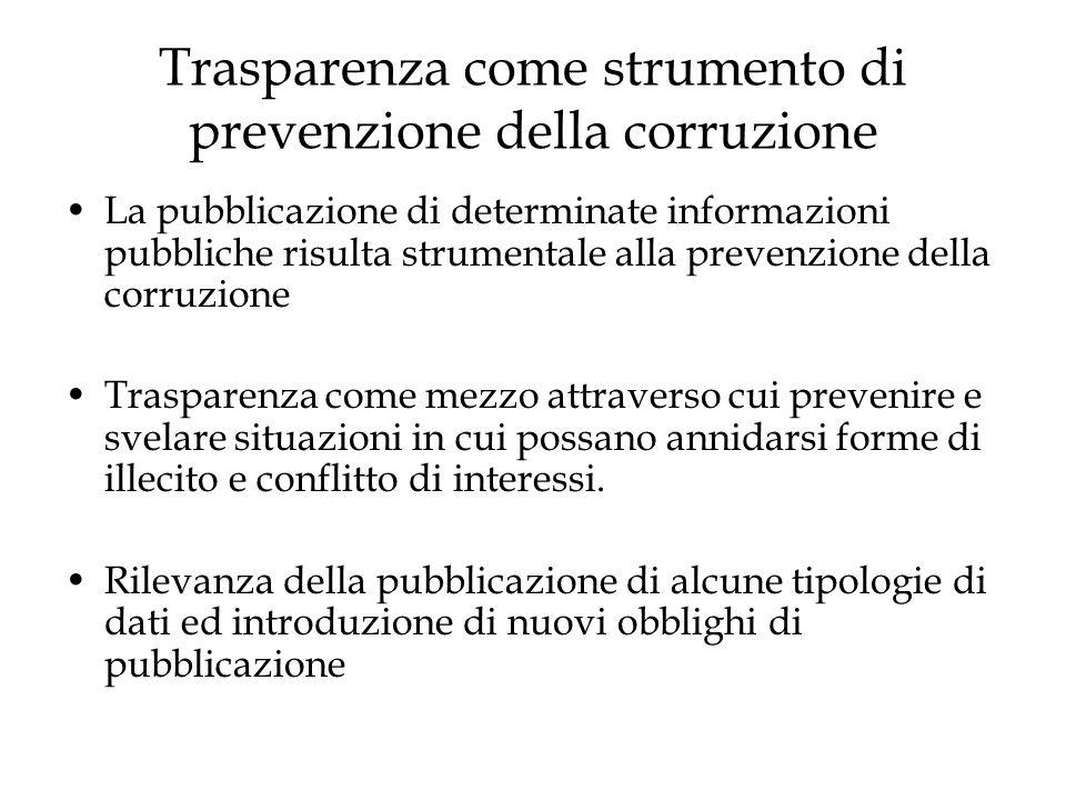 Trasparenza come strumento di prevenzione della corruzione