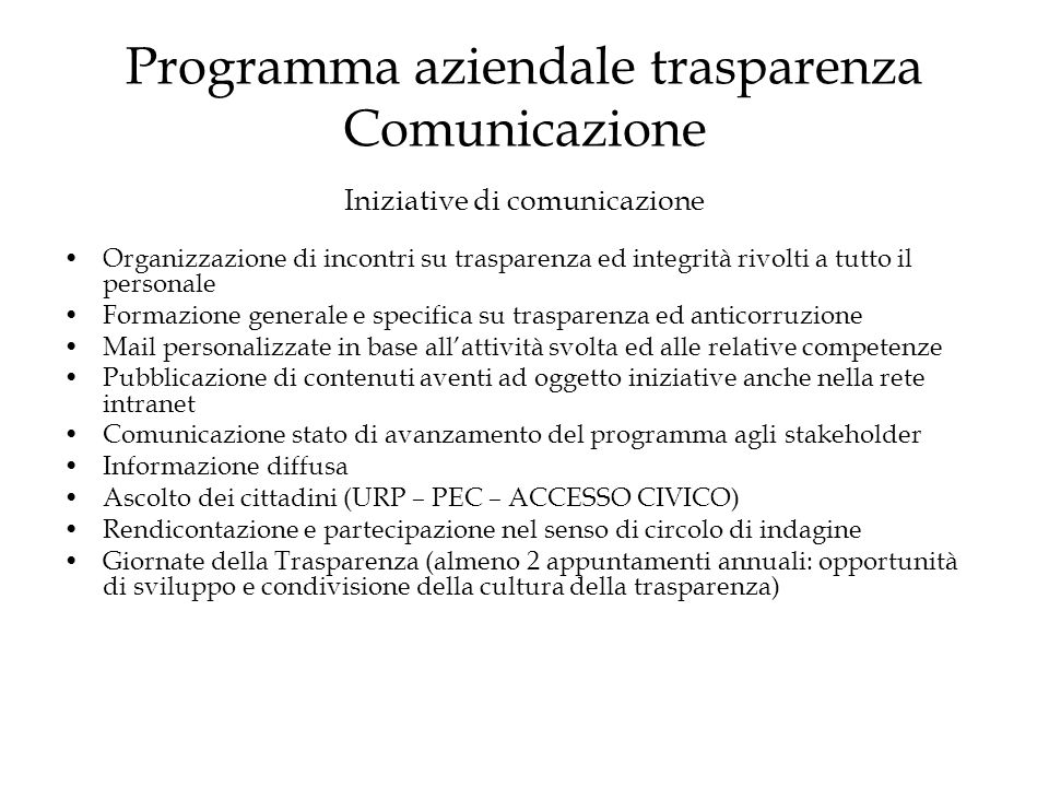Programma aziendale trasparenza Comunicazione