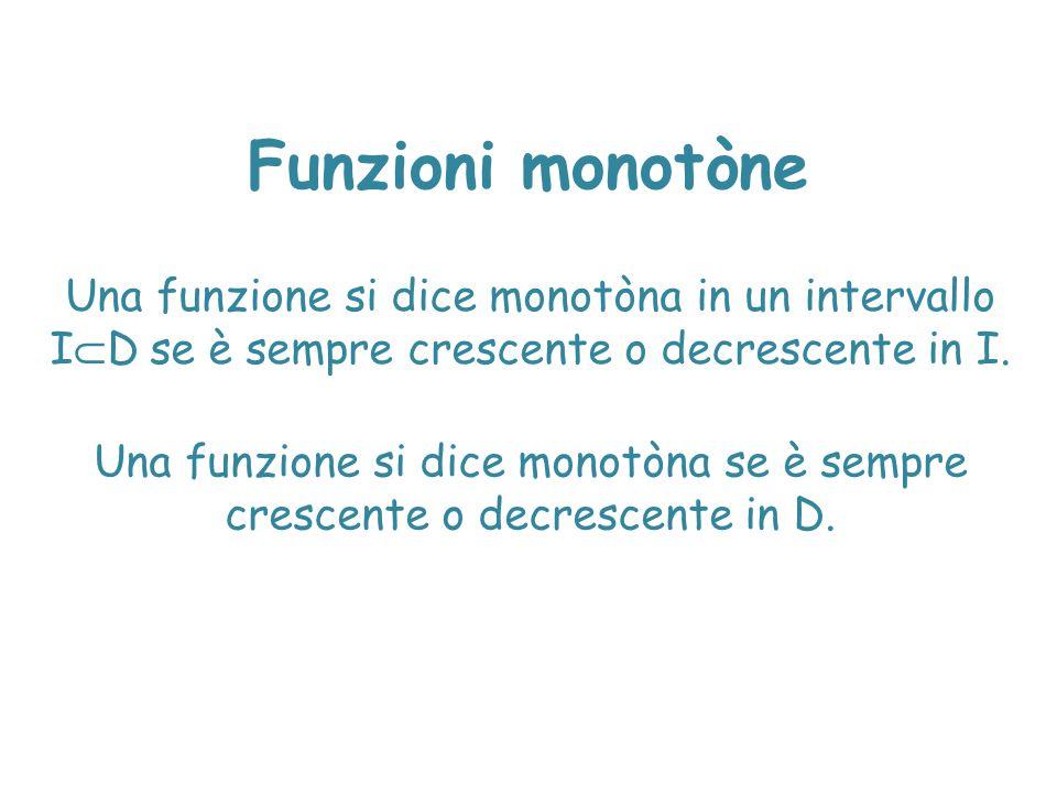 Funzioni monotòne Una funzione si dice monotòna in un intervallo ID se è sempre crescente o decrescente in I.