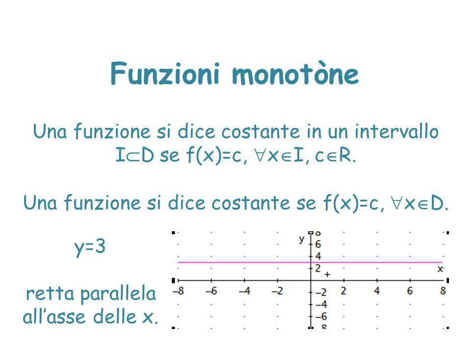 Una funzione si dice costante se f(x)=c, xD.