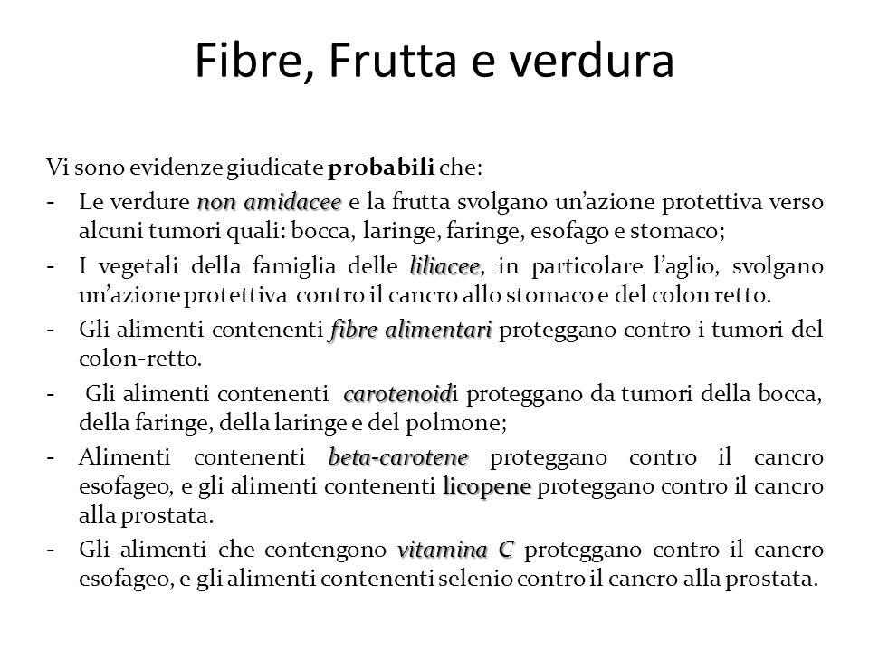 Fibre, Frutta e verdura Vi sono evidenze giudicate probabili che: