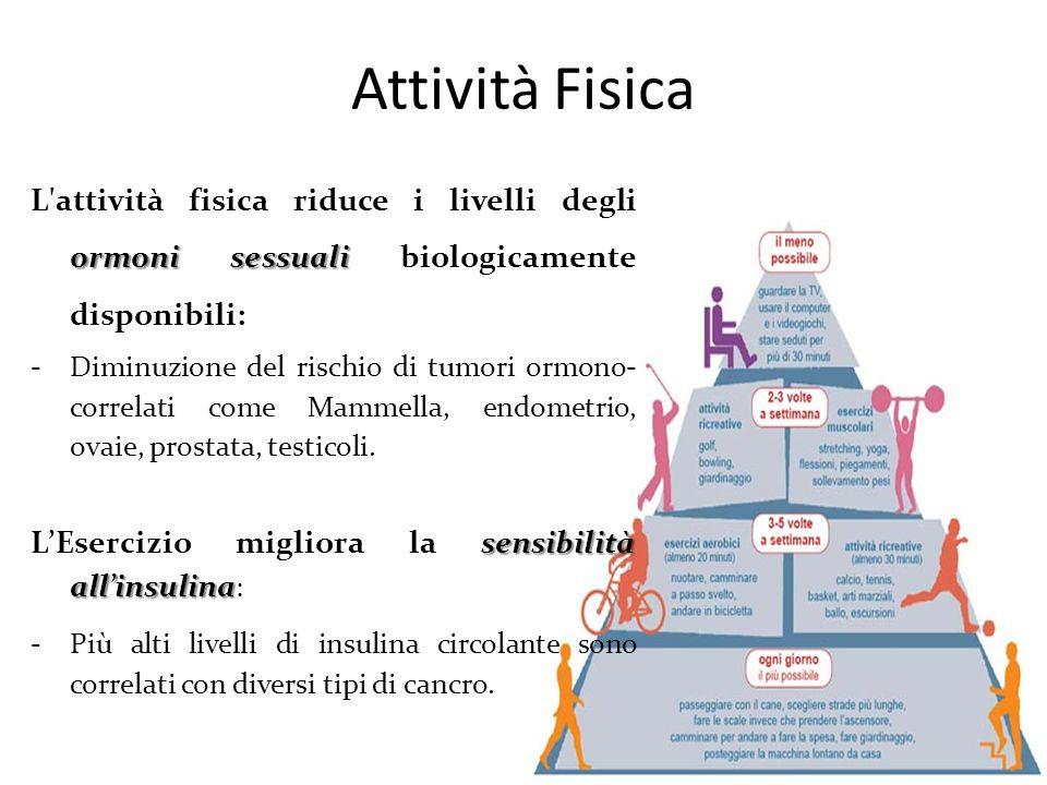 Attività Fisica L attività fisica riduce i livelli degli ormoni sessuali biologicamente disponibili: