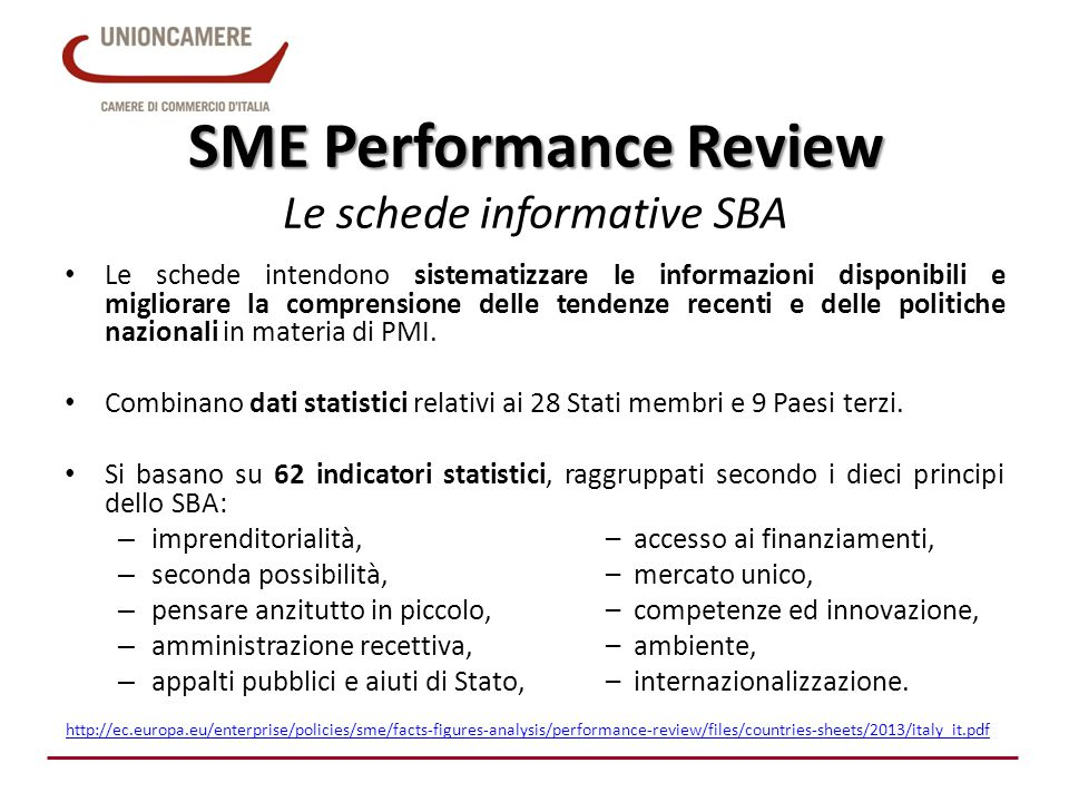 SME Performance Review Le schede informative SBA