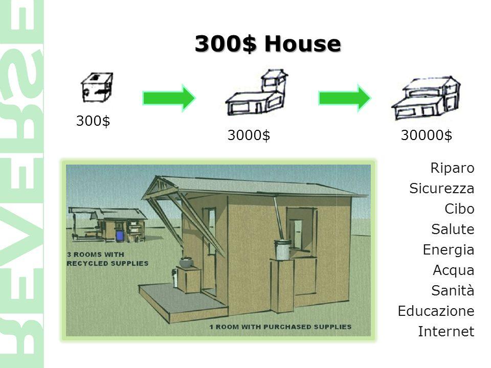 300$ House 300$ 3000$ 30000$ Riparo Sicurezza Cibo Salute Energia