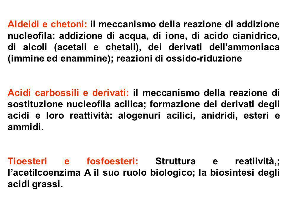Aldeidi e chetoni: il meccanismo della reazione di addizione nucleofila: addizione di acqua, di ione, di acido cianidrico, di alcoli (acetali e chetali), dei derivati dell ammoniaca (immine ed enammine); reazioni di ossido-riduzione