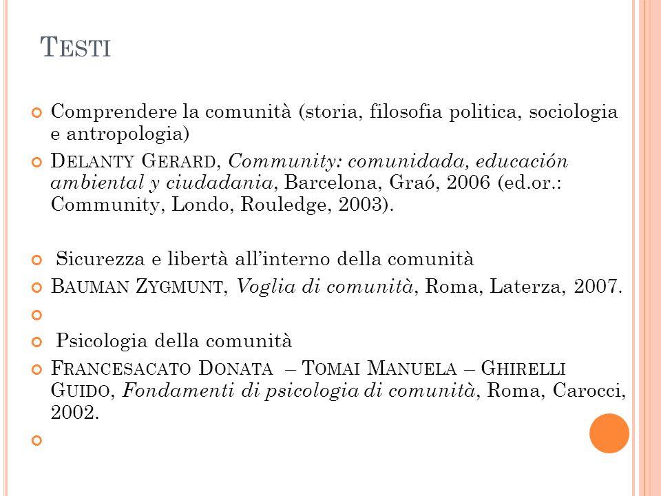 Testi Comprendere la comunità (storia, filosofia politica, sociologia e antropologia)
