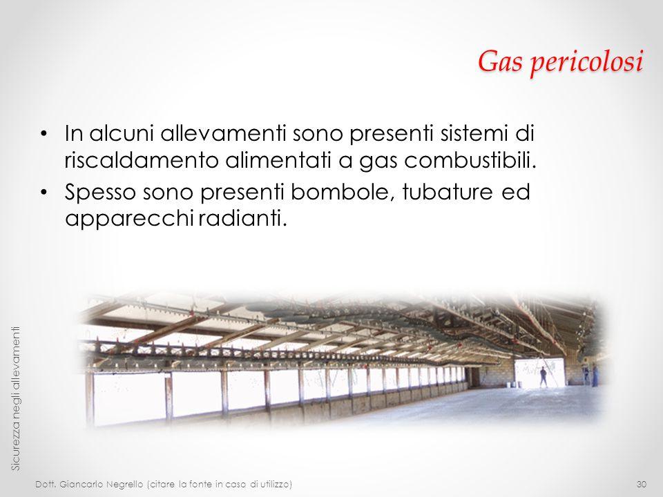 Gas pericolosi In alcuni allevamenti sono presenti sistemi di riscaldamento alimentati a gas combustibili.