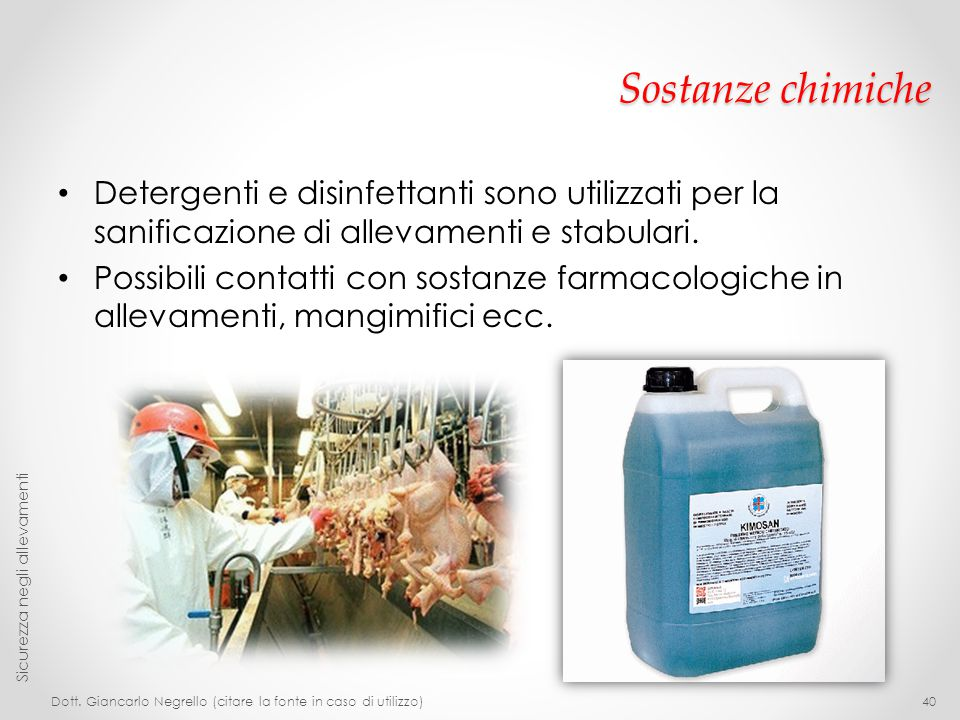 Sostanze chimiche Detergenti e disinfettanti sono utilizzati per la sanificazione di allevamenti e stabulari.