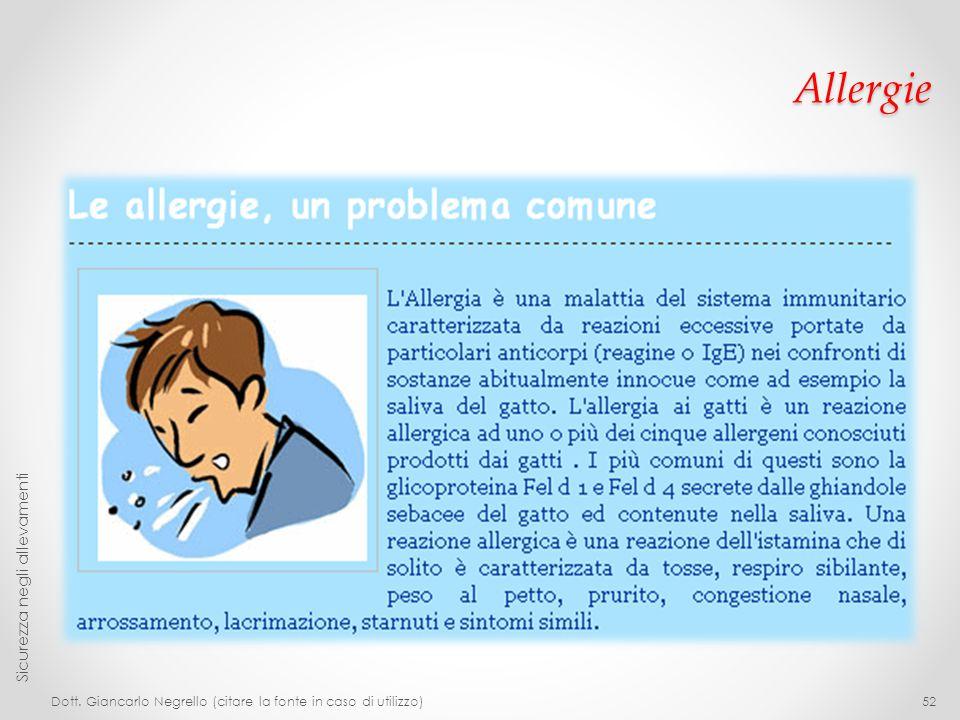 Allergie Sicurezza negli allevamenti