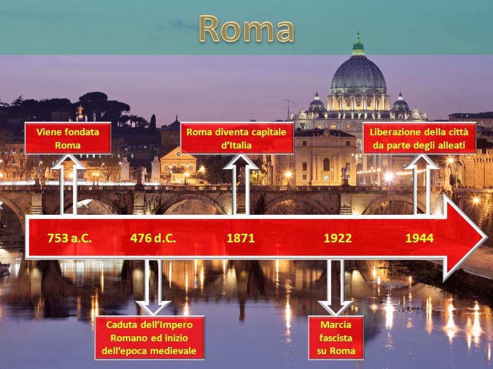 Roma 753 a.C. 476 d.C. 1871 1922 1944 Viene fondata Roma