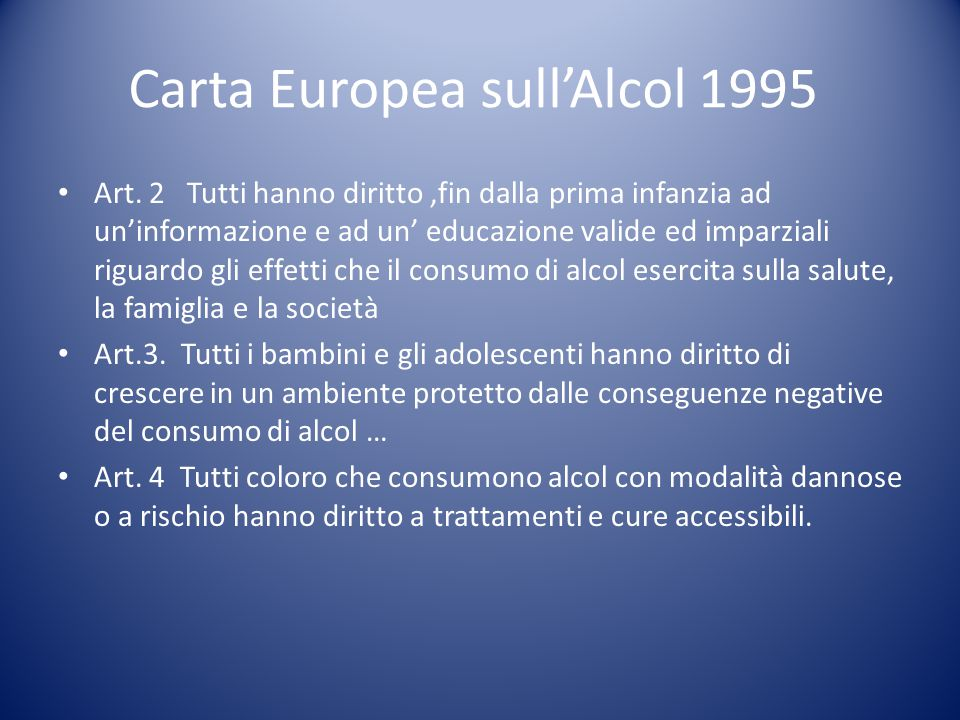 Carta Europea sull'Alcol 1995