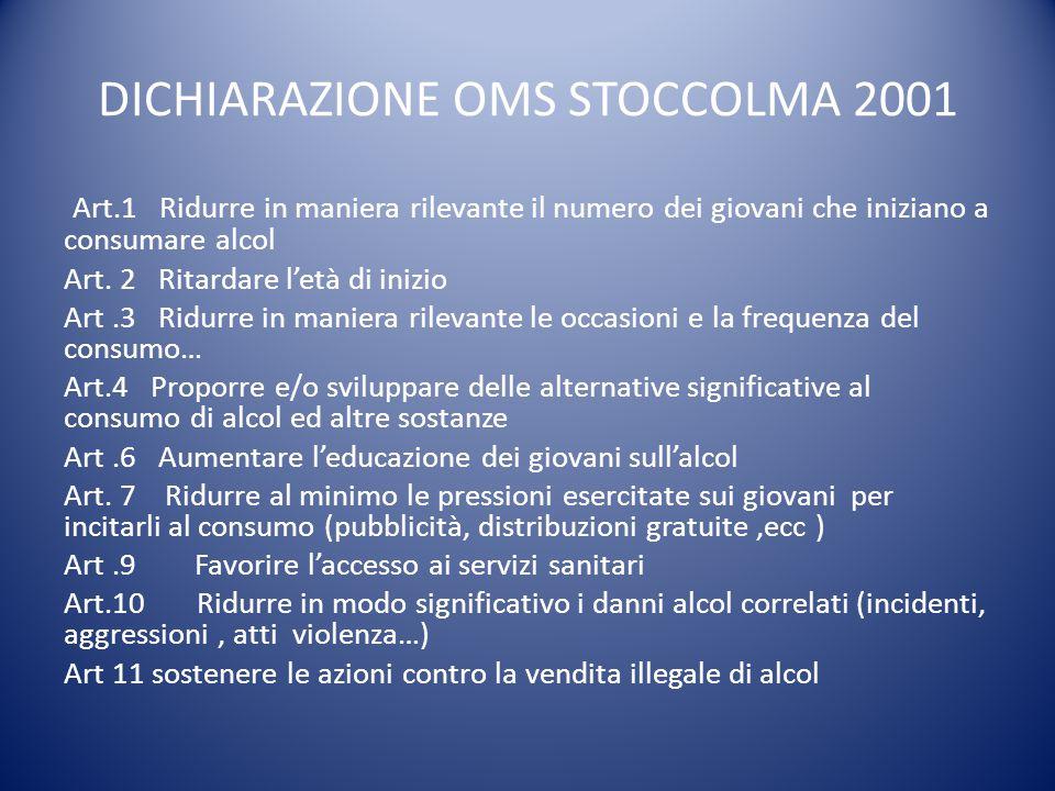 DICHIARAZIONE OMS STOCCOLMA 2001