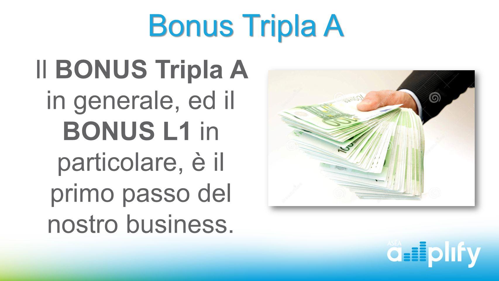 Bonus Tripla A Il BONUS Tripla A in generale, ed il BONUS L1 in particolare, è il primo passo del nostro business.