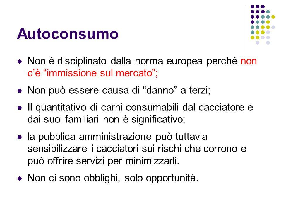 Autoconsumo Non è disciplinato dalla norma europea perché non c'è immissione sul mercato ; Non può essere causa di danno a terzi;