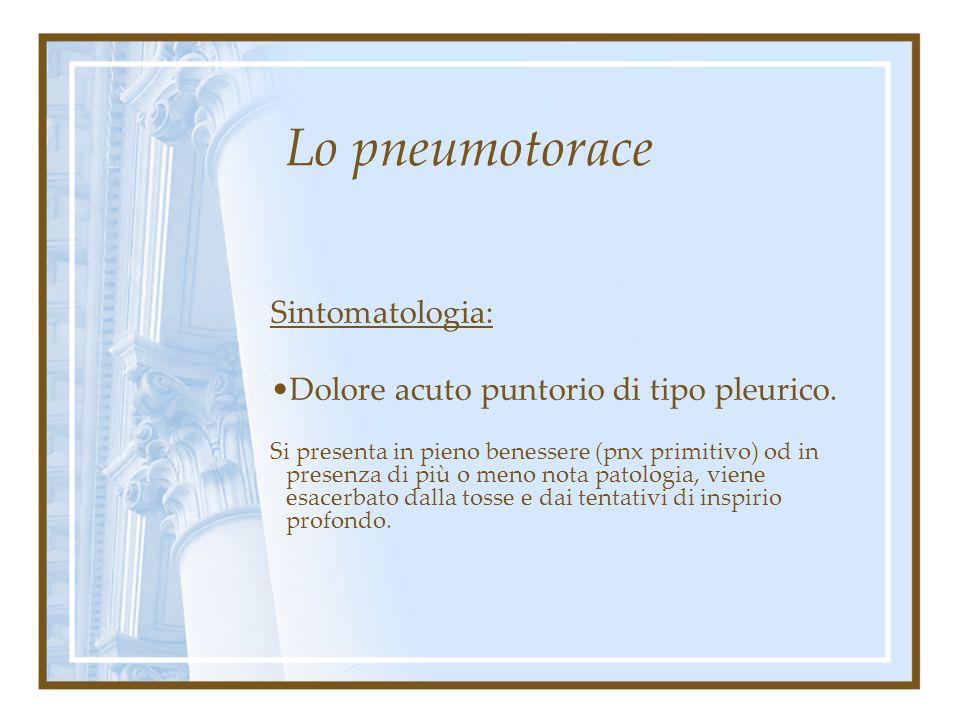 Lo pneumotorace Sintomatologia: