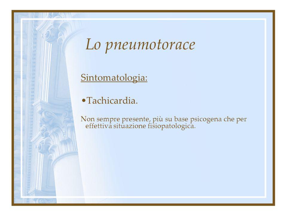 Lo pneumotorace Sintomatologia: Tachicardia.