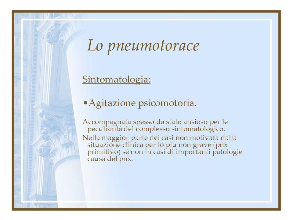 Lo pneumotorace Sintomatologia: Agitazione psicomotoria.