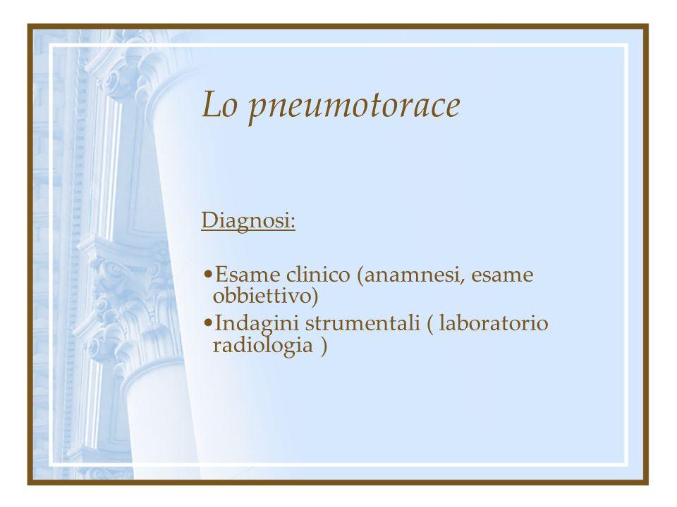Lo pneumotorace Diagnosi: Esame clinico (anamnesi, esame obbiettivo)
