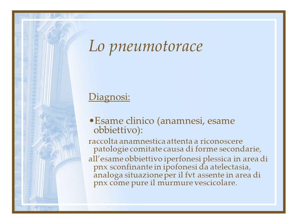 Lo pneumotorace Diagnosi: Esame clinico (anamnesi, esame obbiettivo):