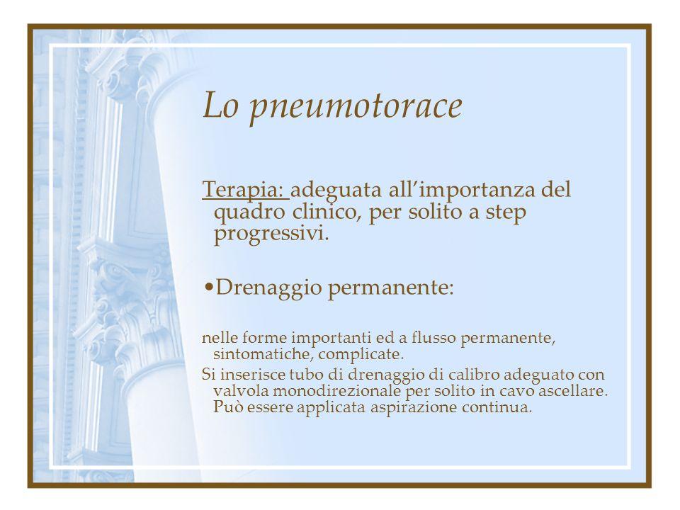 Lo pneumotorace Terapia: adeguata all'importanza del quadro clinico, per solito a step progressivi.