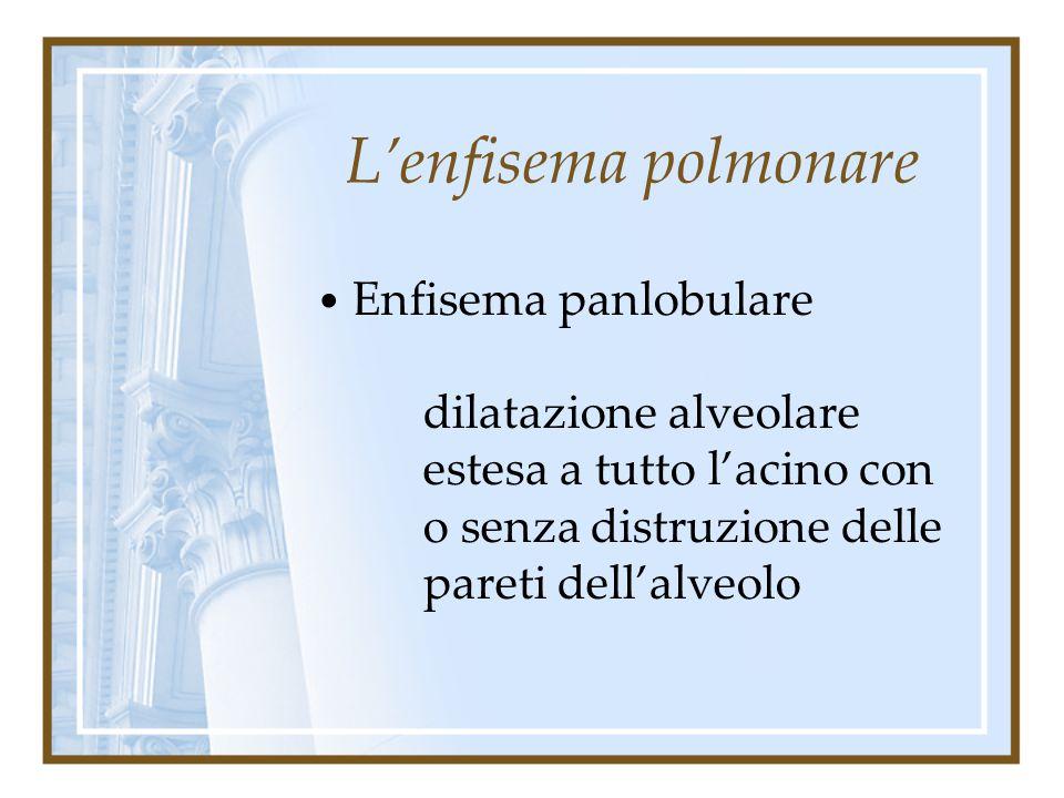 L'enfisema polmonare Enfisema panlobulare.