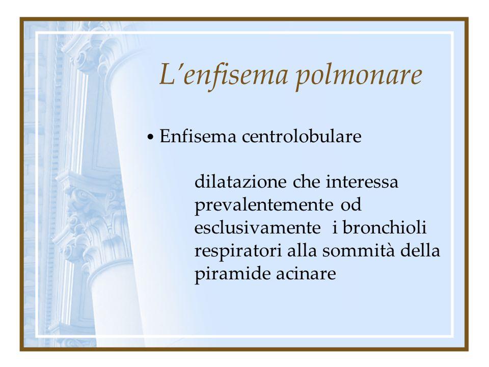 L'enfisema polmonare Enfisema centrolobulare.