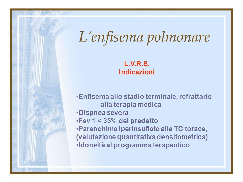 L'enfisema polmonare L.V.R.S. Indicazioni