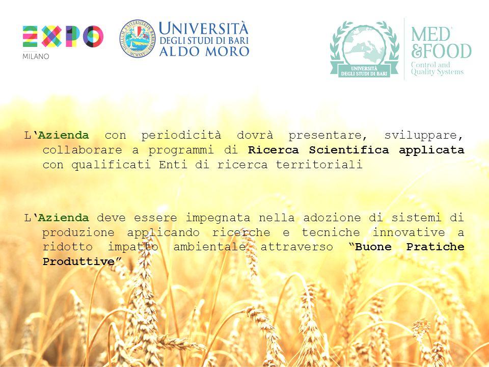 L'Azienda con periodicità dovrà presentare, sviluppare, collaborare a programmi di Ricerca Scientifica applicata con qualificati Enti di ricerca territoriali