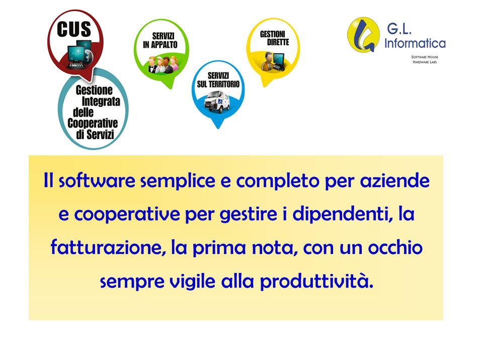 Il software semplice e completo per aziende e cooperative per gestire i dipendenti, la fatturazione, la prima nota, con un occhio sempre vigile alla produttività.