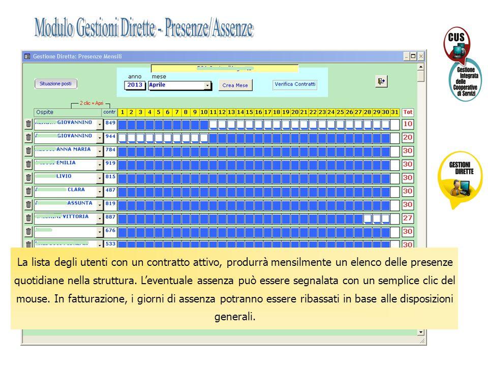 Modulo Gestioni Dirette - Presenze/Assenze