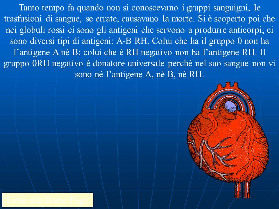 Tanto tempo fa quando non si conoscevano i gruppi sanguigni, le trasfusioni di sangue, se errate, causavano la morte. Si è scoperto poi che nei globuli rossi ci sono gli antigeni che servono a produrre anticorpi; ci sono diversi tipi di antigeni: A-B RH. Colui che ha il gruppo 0 non ha l'antigene A né B; colui che è RH negativo non ha l'antigene RH. Il gruppo 0RH negativo è donatore universale perché nel suo sangue non vi sono né l'antigene A, né B, né RH.