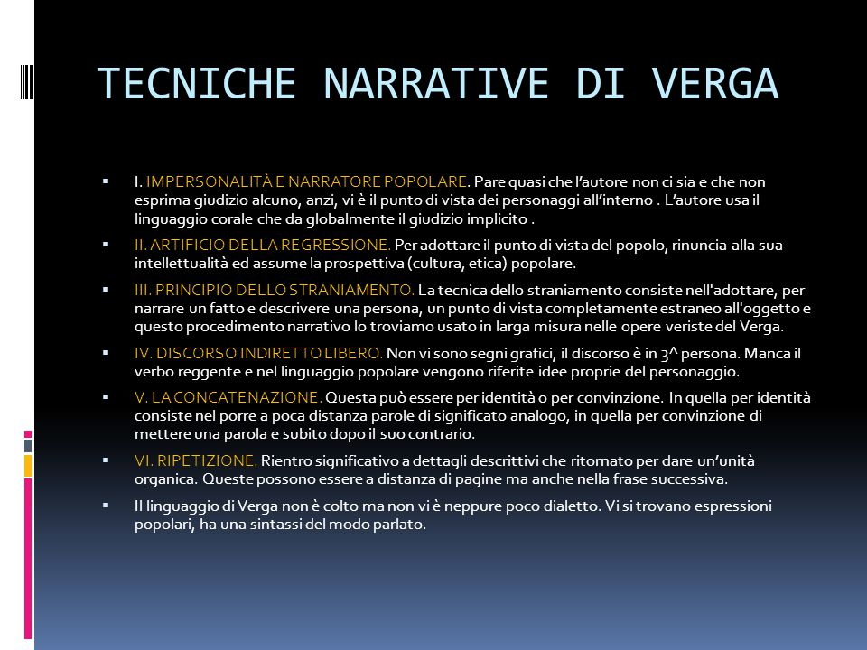 TECNICHE NARRATIVE DI VERGA